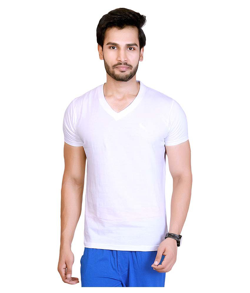 LUCFashion White V-Neck T-Shirt
