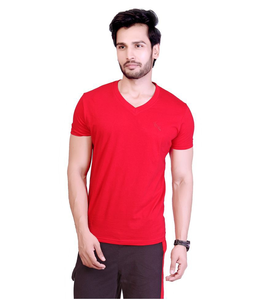 LUCfashion Red V-Neck T-Shirt