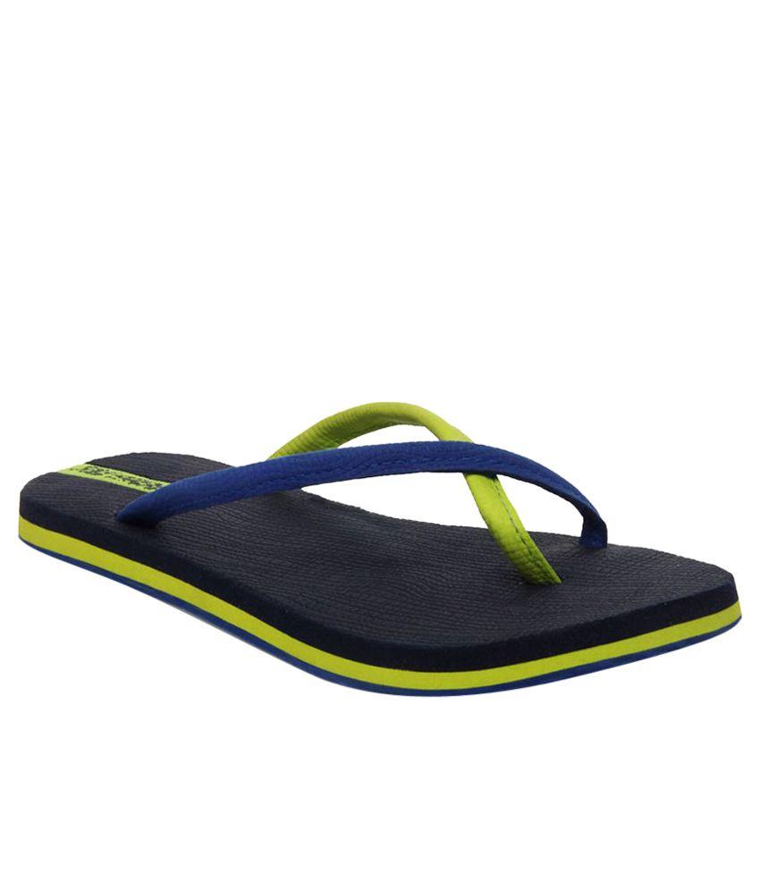 Sole Threads Lime Green & Navy Blue Flip Flops