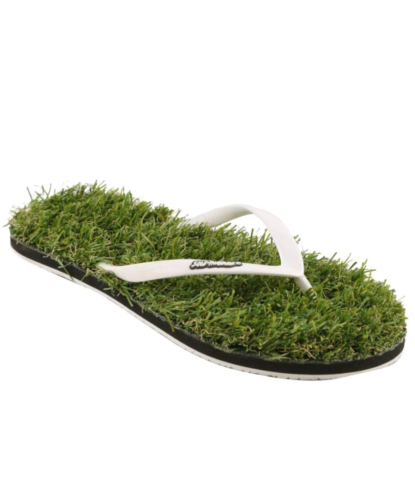 Sole Threads White & Green Flip Flops