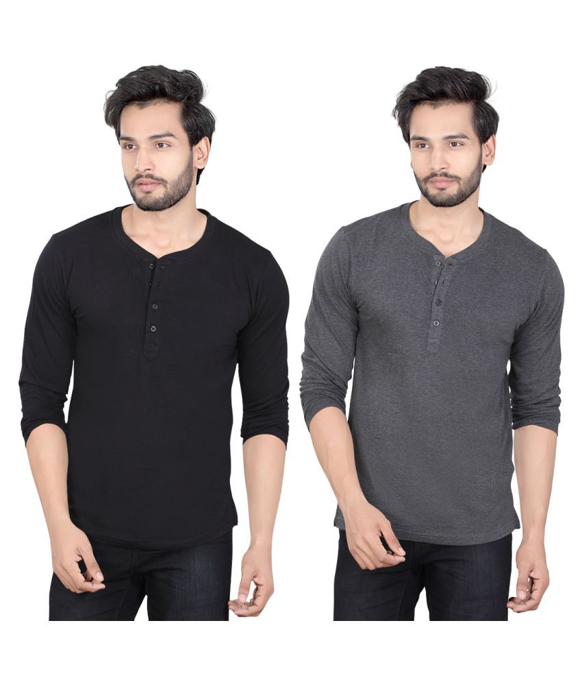 LUCfashion Multi Henley T-Shirt Pack of 2