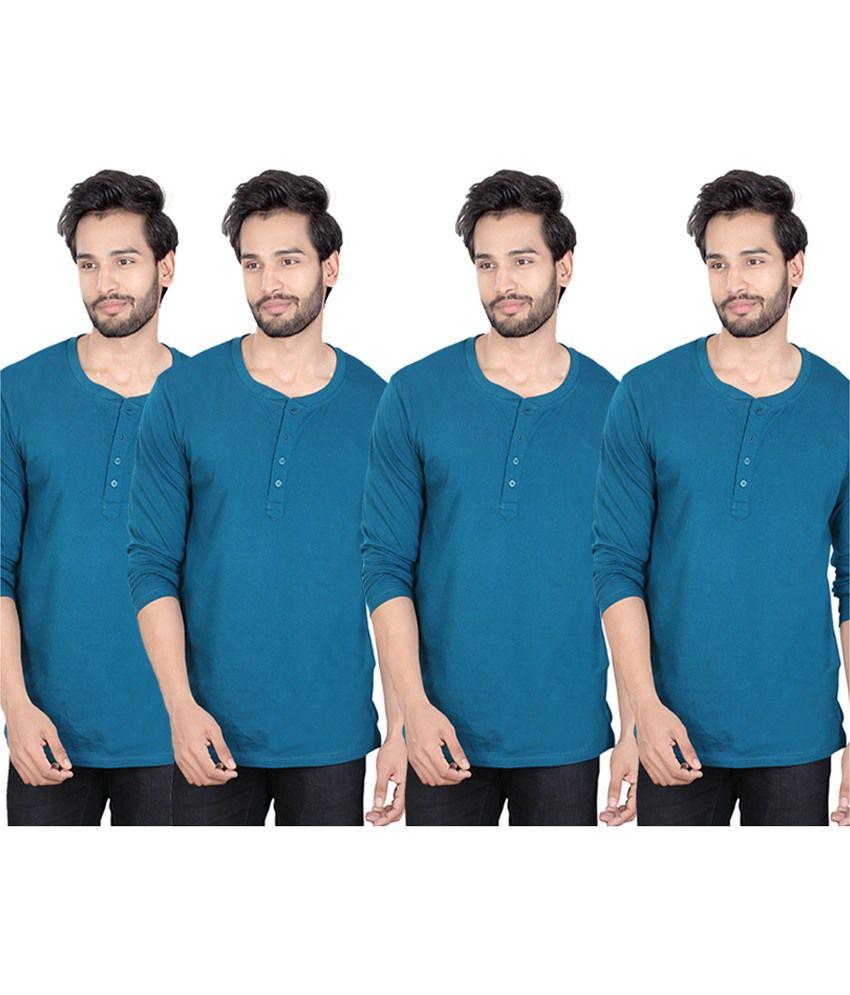 LUCfashion Blue Henley T-Shirt Pack of 4