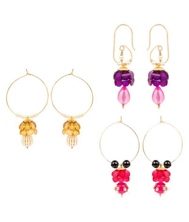 Johareez Multicolour Earrings - Set of 3
