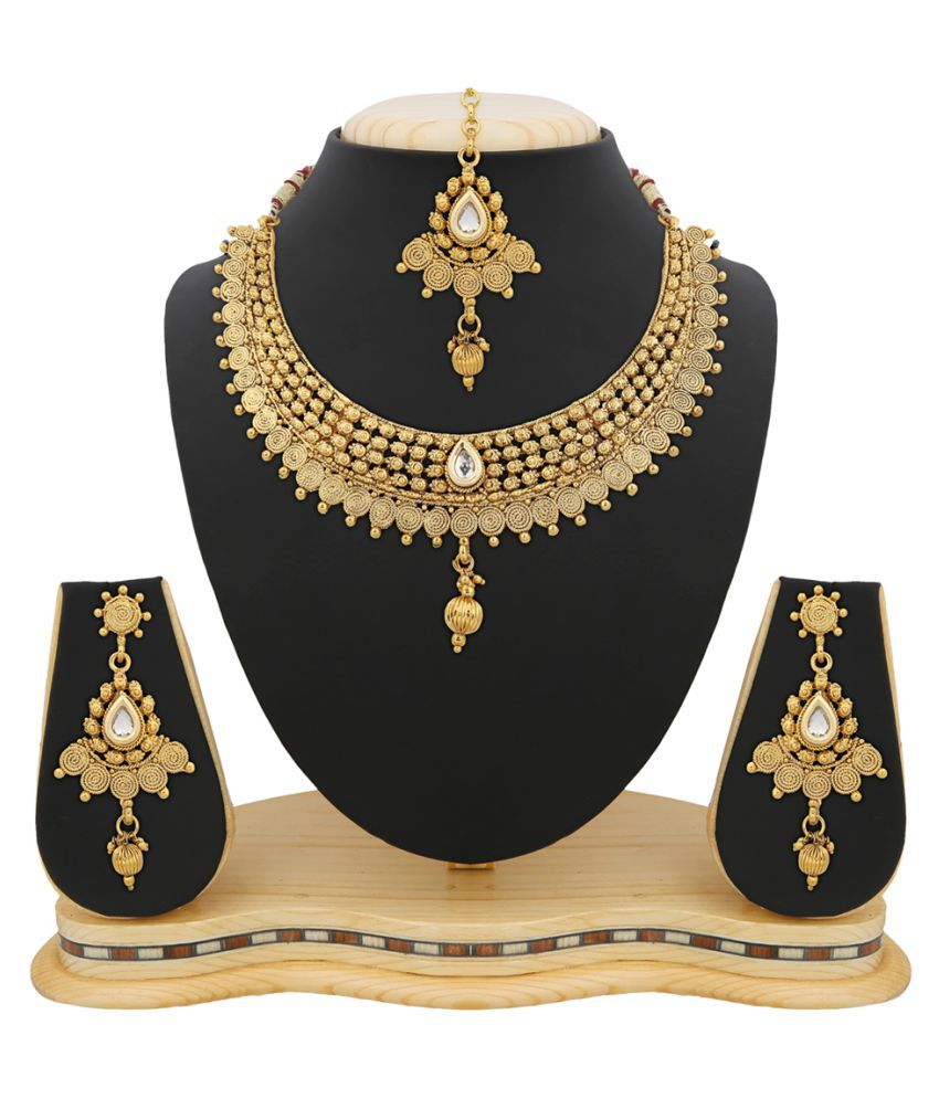 RG Fashions Jewellery Golden Necklace Set