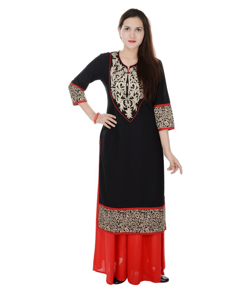 Heritage Jaipur Black Cotton Kurti with Palazzo