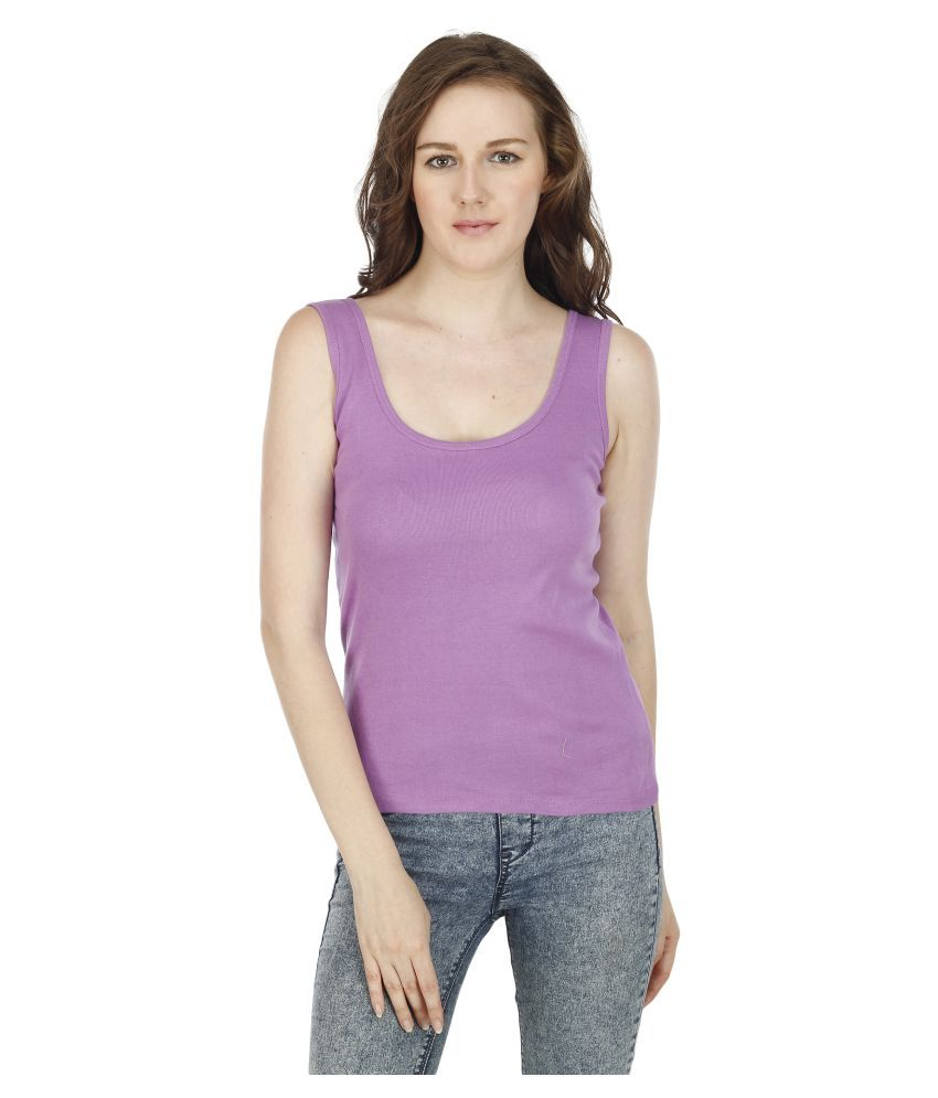 Luste Purple Cotton Lycra Tanks