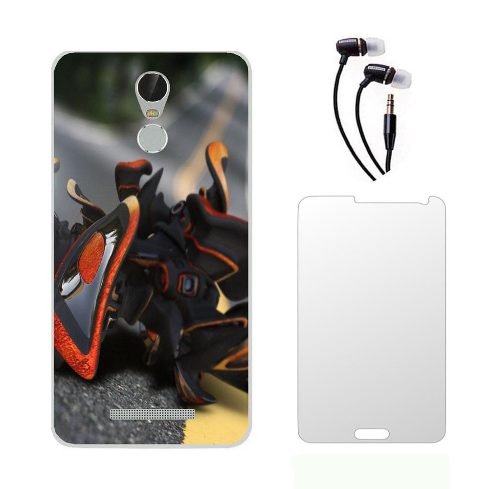 Lenovo Vibe K5 Note Printed back cover  with Ultra Clear Tempered Glass and 3.5mm Earphones Combo by Mocell