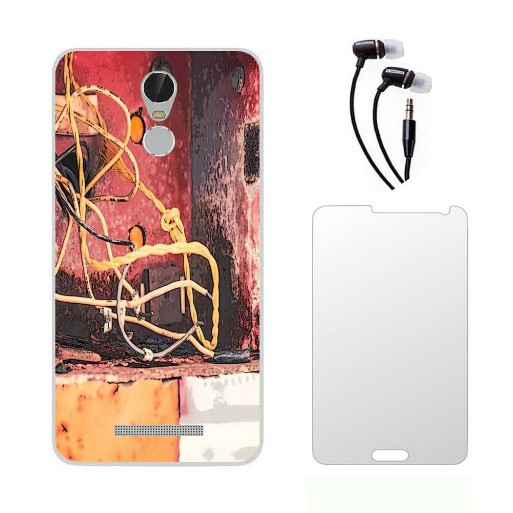 Lenovo Vibe K5 Note Printed back cover  with Ultra Clear Tempered Glass and 3.5mm Earphones Combo by Aoris