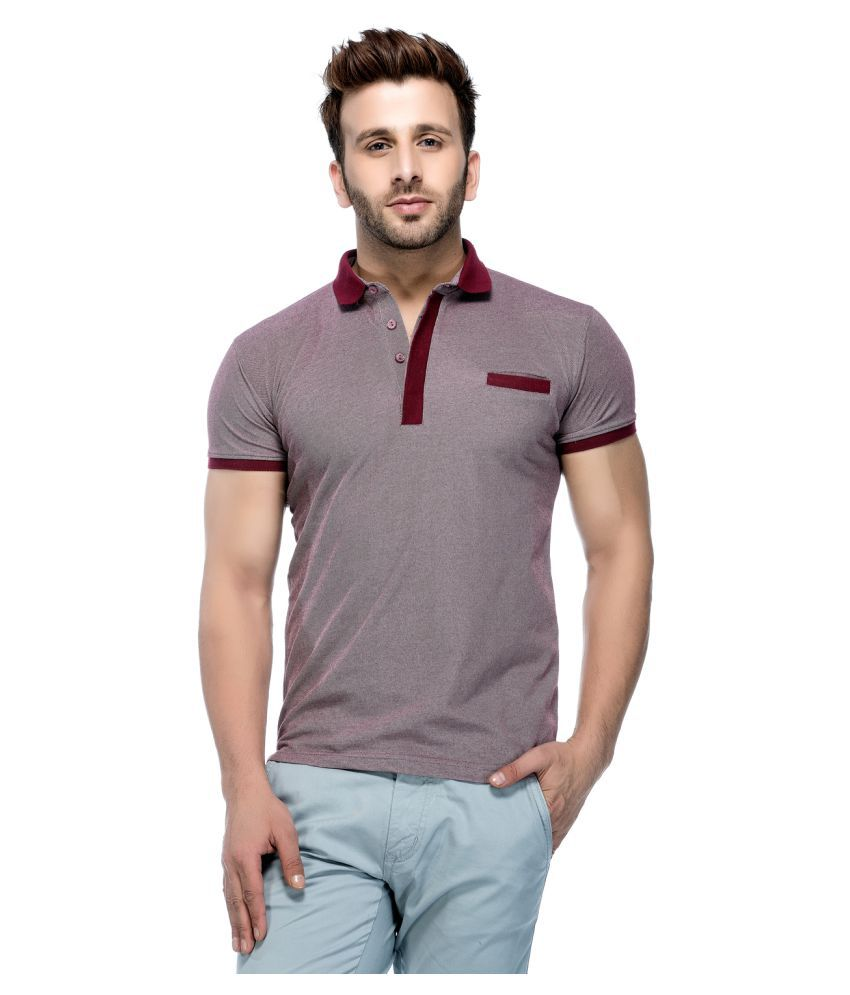 Tinted Maroon Cotton Blend Polo T-Shirt Single Pack