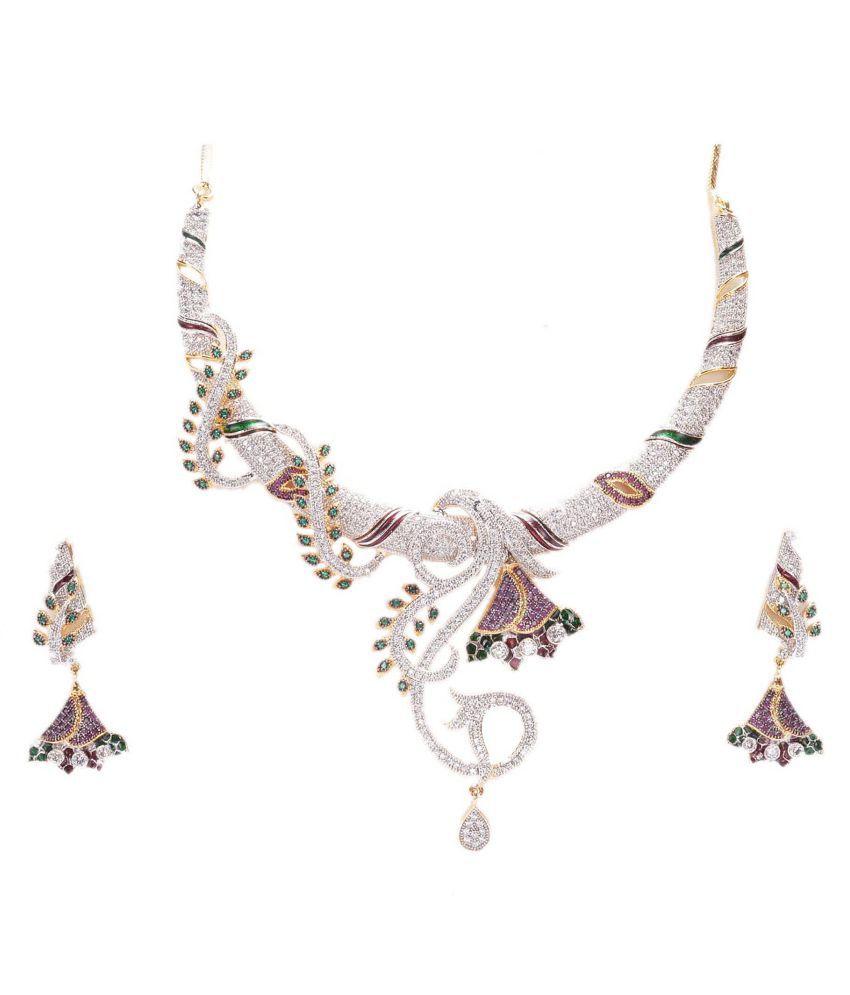 Manikya American Diamond Studdded Multicolor Necklace Set