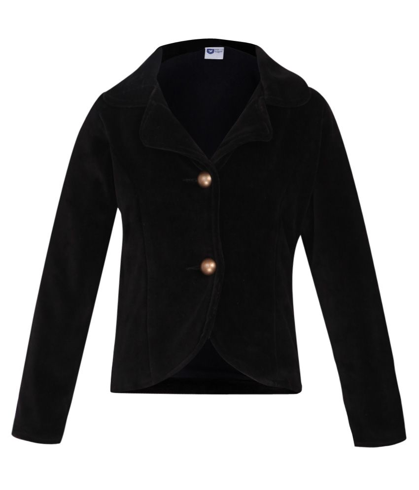 612 League Black Solid Buttoned Velour Jacket