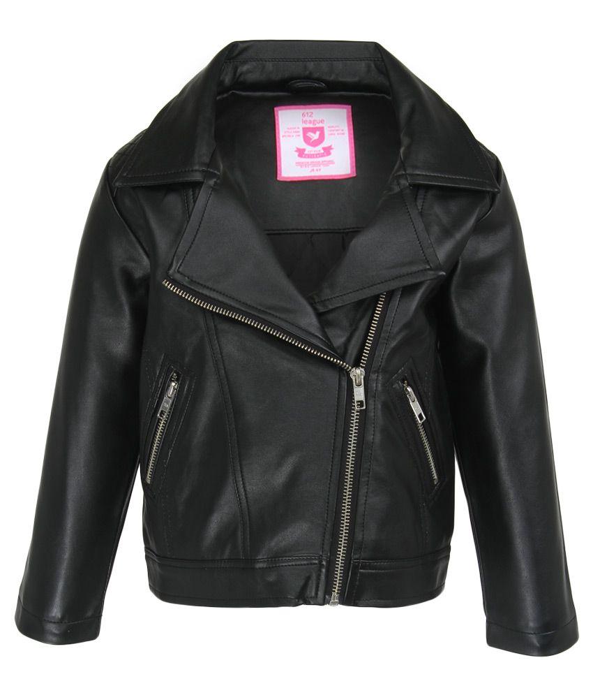 612 League Black Solid Leather Jacket