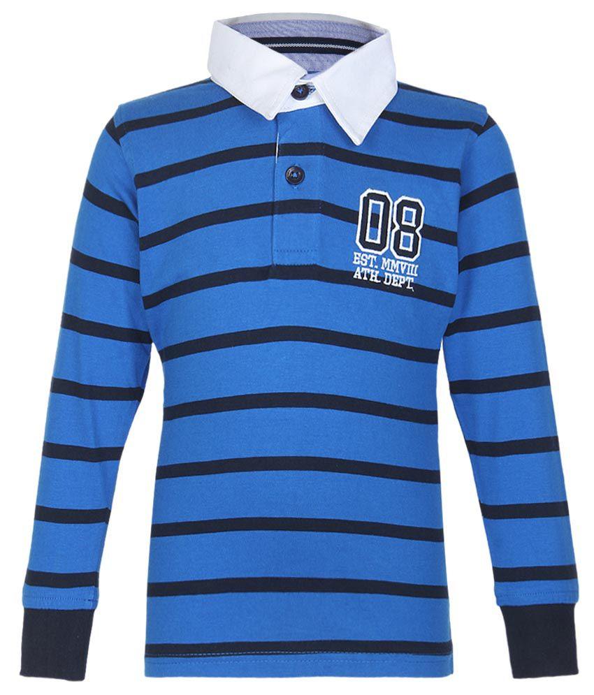 612 League Blue Striped Regular Fit Polo T-Shirt