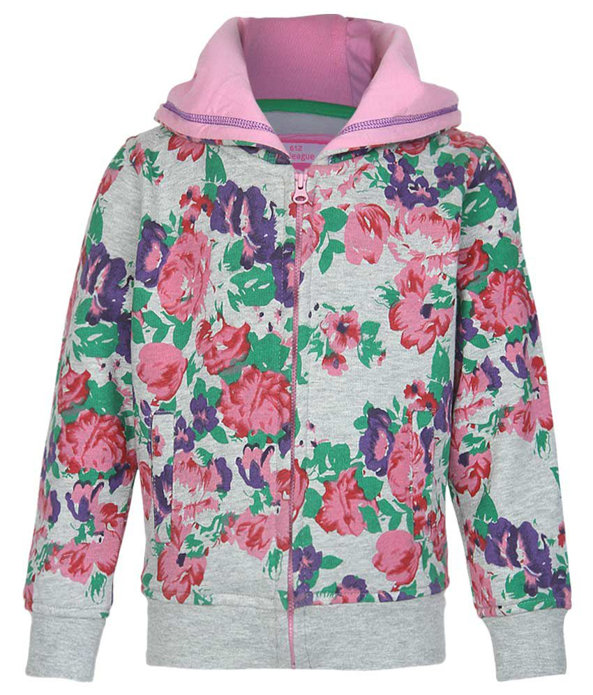 612 League Gray Floral Printed Zippered Sweatshirt