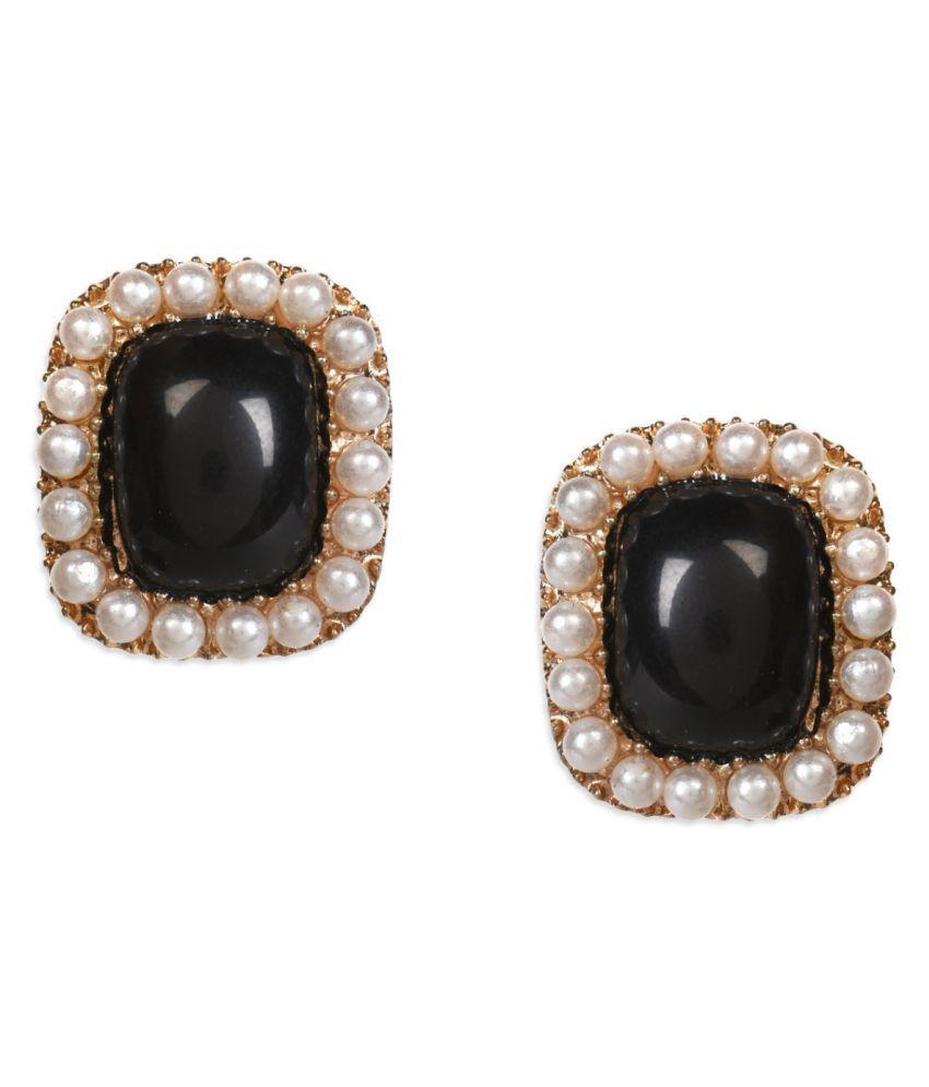 Crunchy Fashion Black Stud Earrings