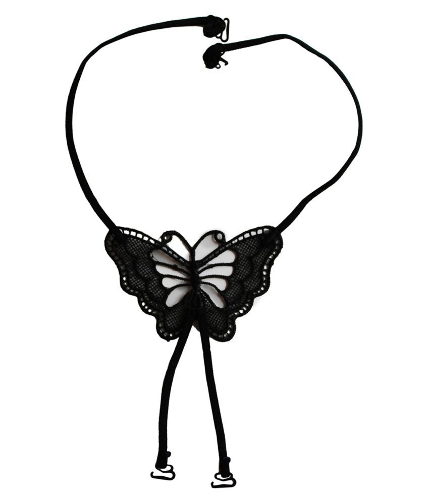 Clovia Black Detachable String Straps With Butterfly Shaped Crochet