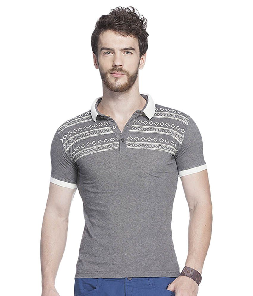 Tinted Grey Cotton Blend Polo T-Shirt Single Pack