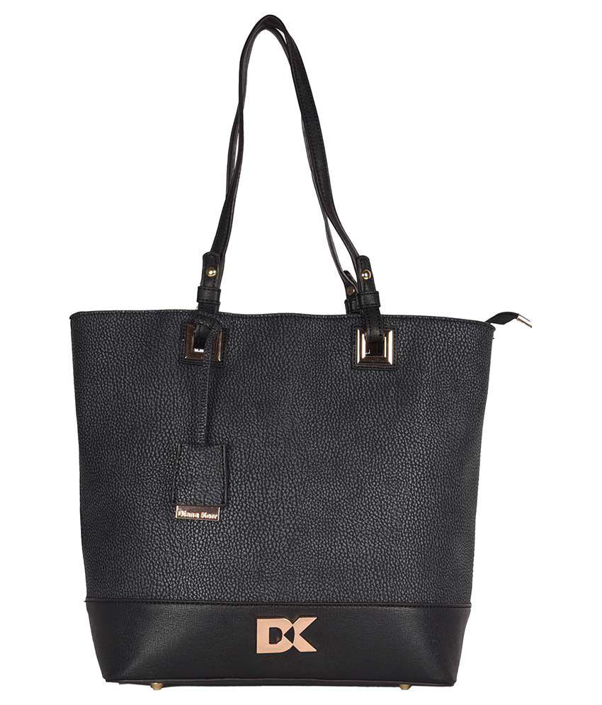 Diana Korr Black Faux Leather Shoulder Bag