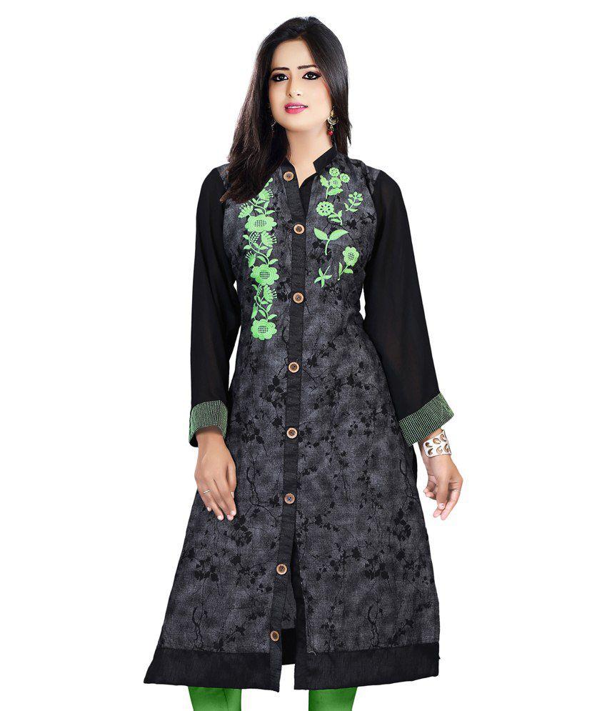 Bhavika Fashion Grey Cotton A-line Floral Kurti