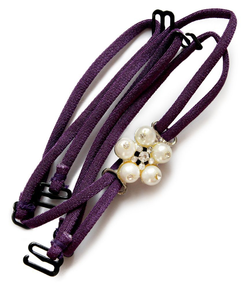 Clovia Detachable Double String Straps In Purple With Pearl Floral Pendant