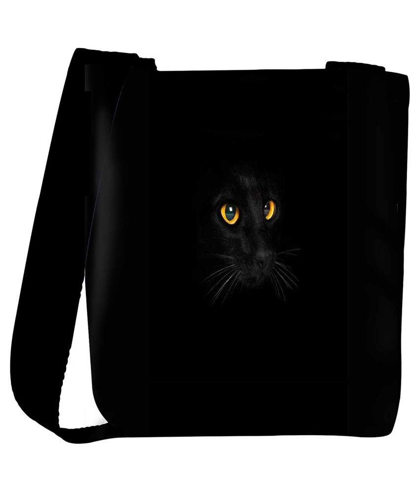 Snoogg Black Fabric Sling Bag