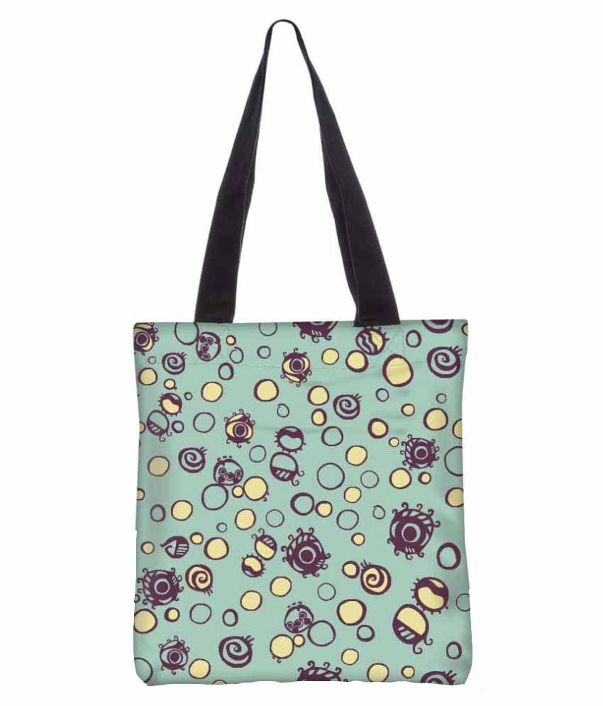 Snoogg Green Canvas Tote Bag