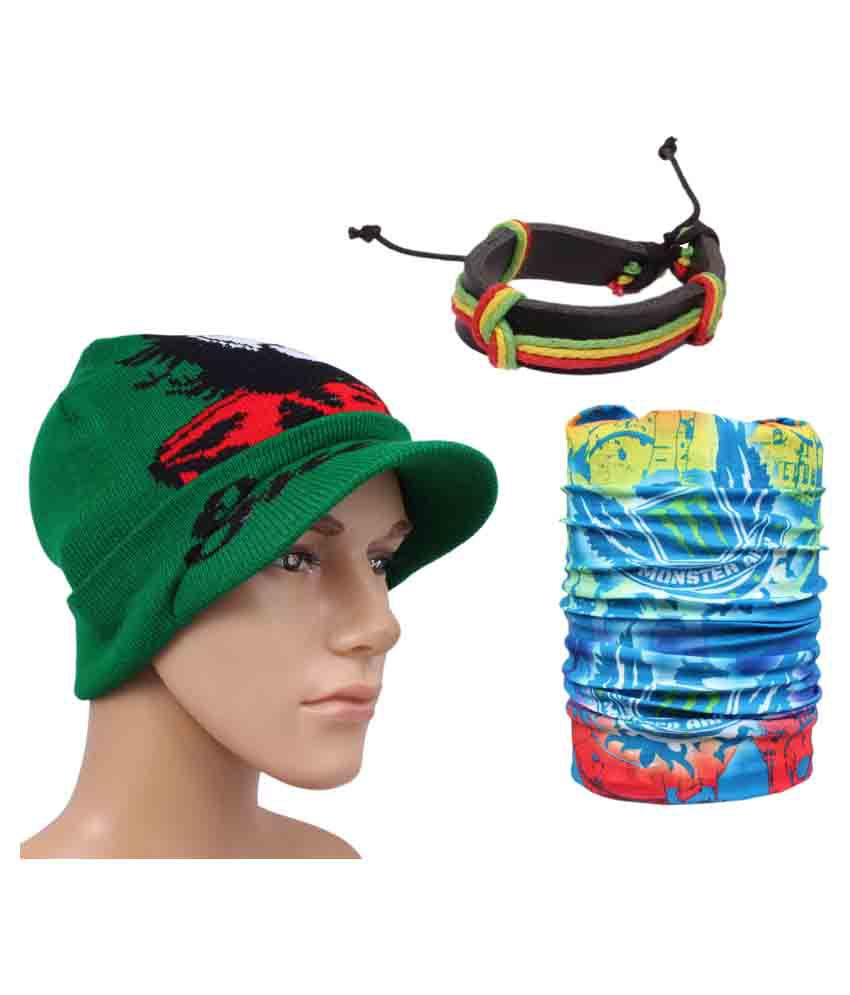 Sushito Multicolour Woolen Cap With Bandana and Wrist Band
