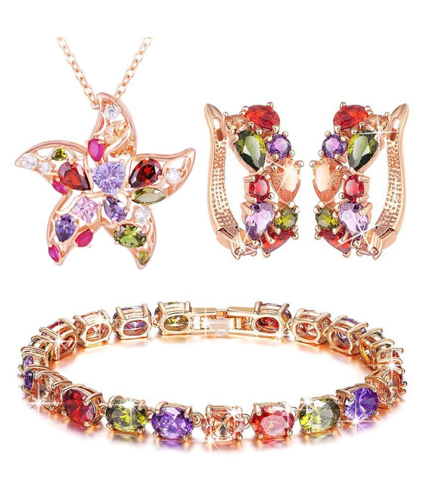 Jewels Galaxy Multicolour Designer Earrings With Kada and Necklace Set
