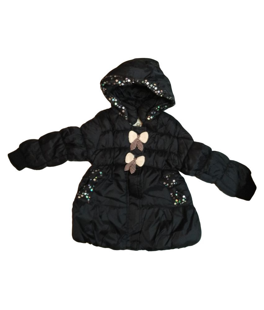 Assent Store Black Polyester Jacket for Girls