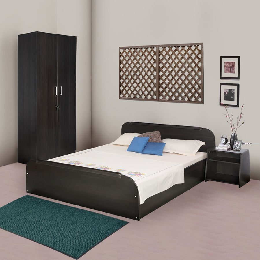 kurlon woodz bedroom set queen size bed two door wardrobe side