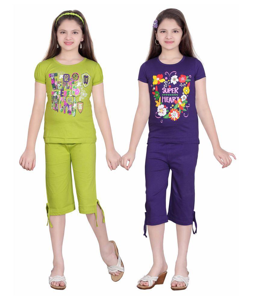 Sini Mini Multicolor Cotton Top and Capri Set - Pack of 2