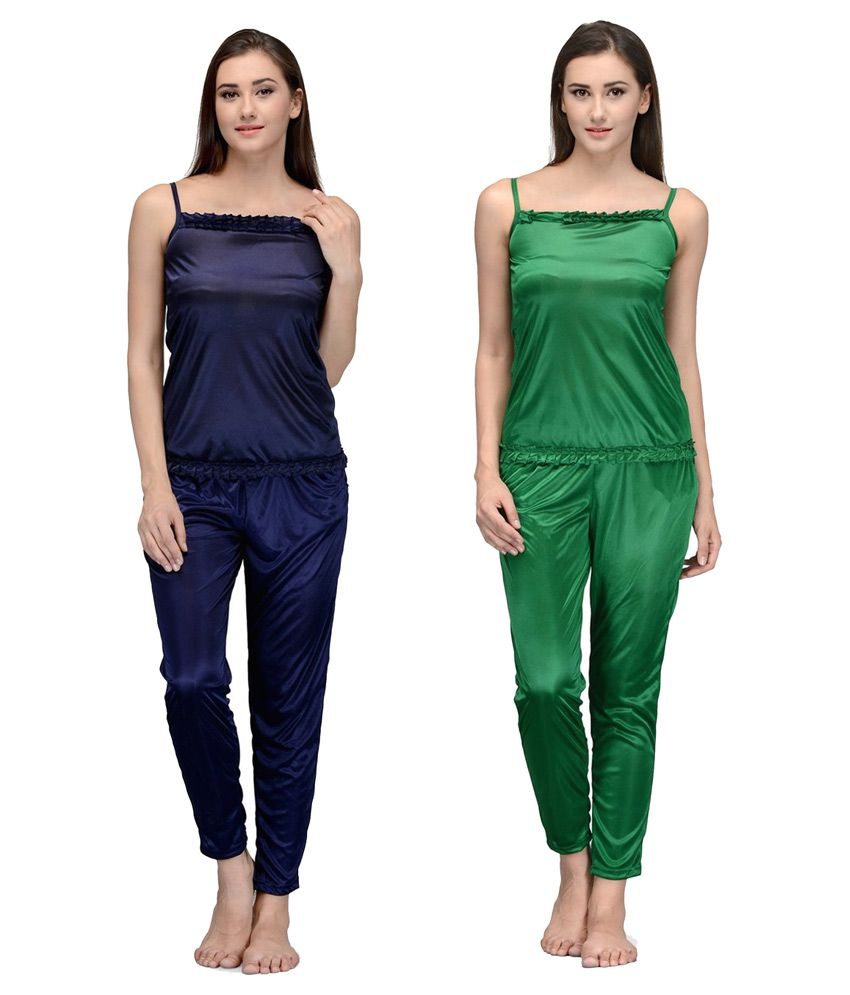 Winsome deal Multi Color Satin Nightsuit Sets - Pack of 2
