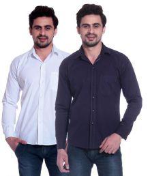 Calibro-White-Purple-Casual-Shirt-SDL735