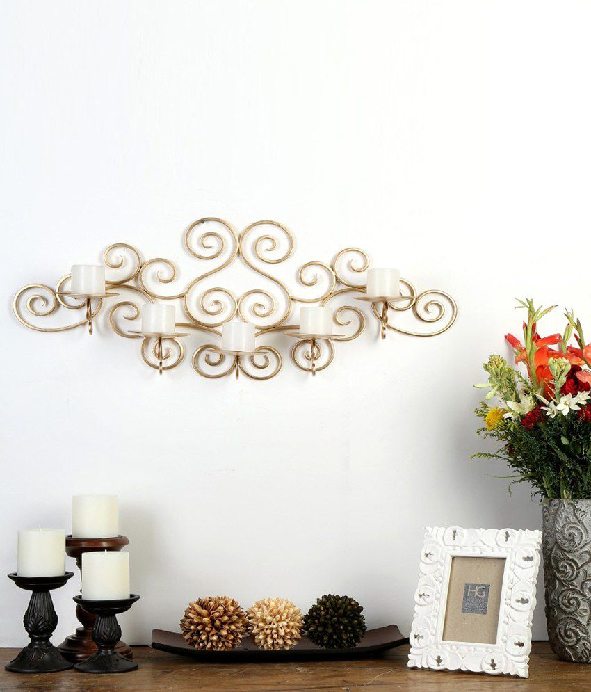 Hosley Wall Sconce Candle Holder : Hosley Metallic Gold Wall Sconce with Free Candles: Buy Hosley Metallic Gold Wall Sconce with ...