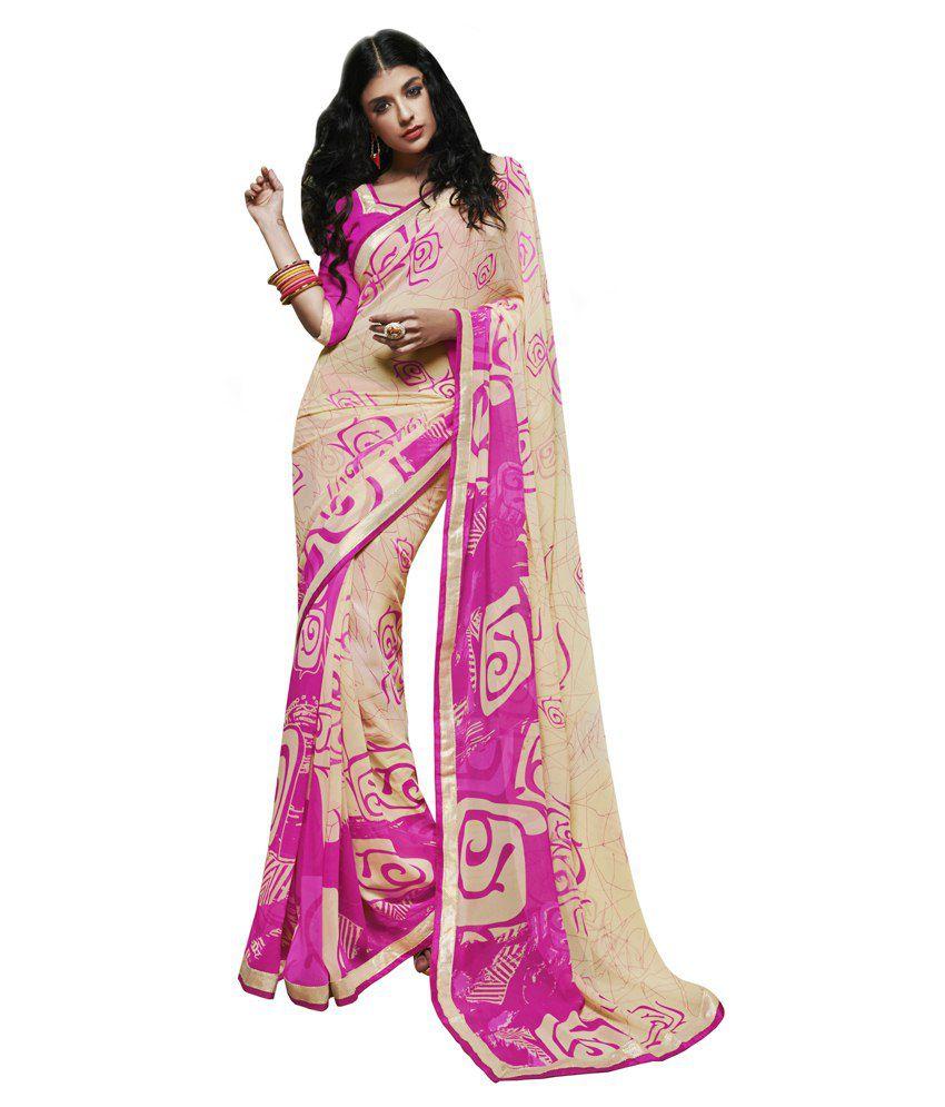Khushali Pink Georgette Saree
