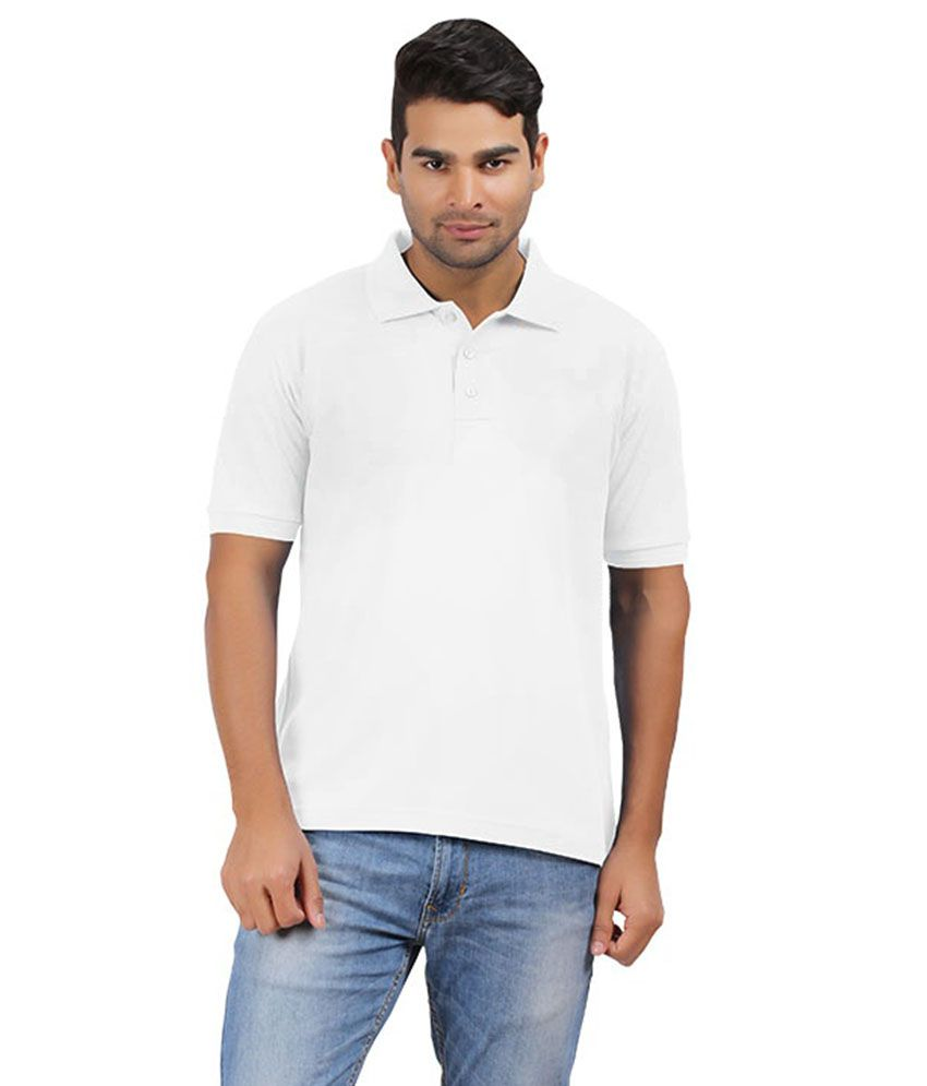 Elephant Clothing White Half Sleeves Basic Polo T-shirt