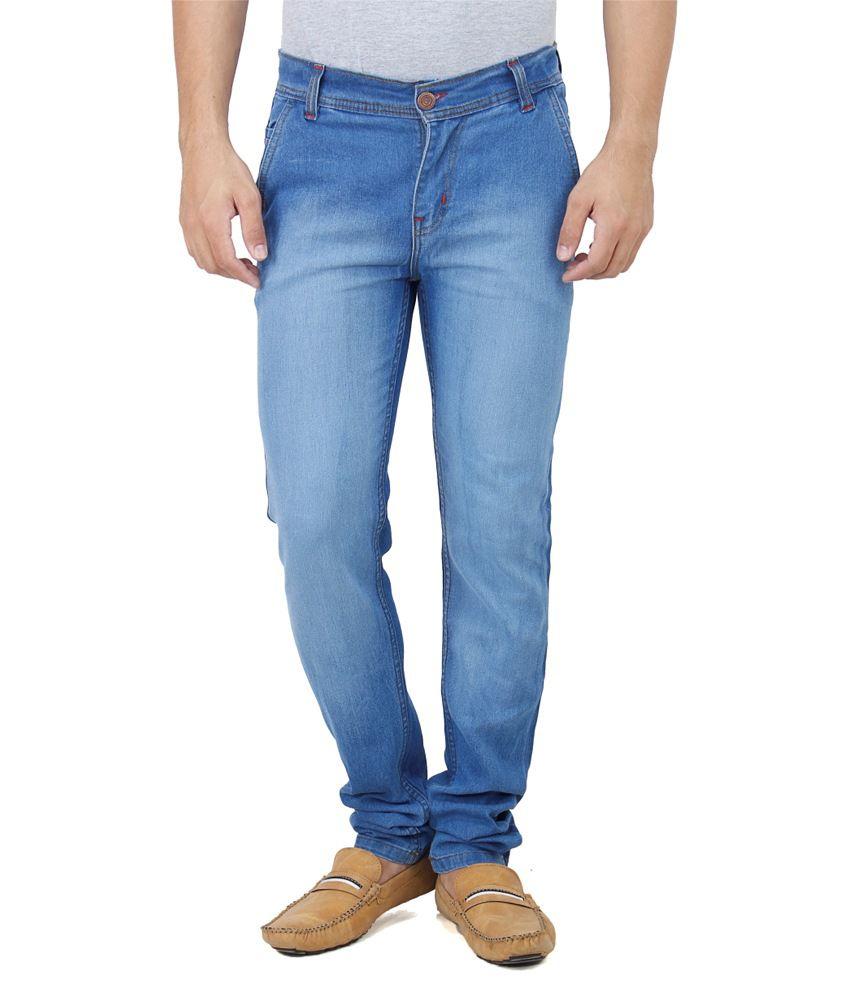 Faithful Blue Cotton Blend Regular Fit Jeans