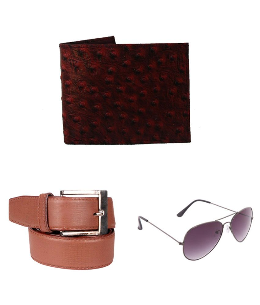 Lenin Tan Leather Belt with Wallet and Sunglasses - Pack of 3