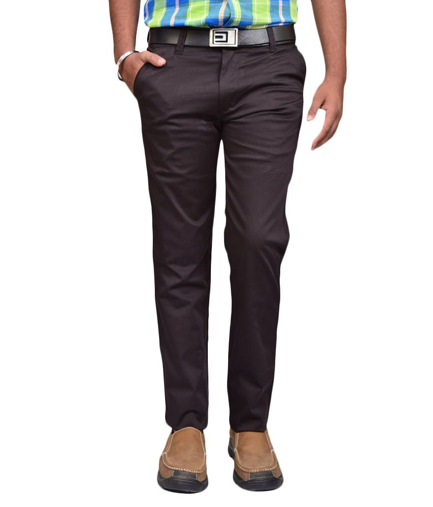 American Noti Brown Slim Fit Casuals Chinos