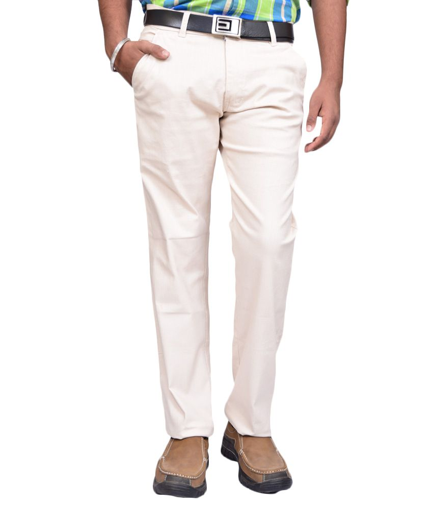 American Noti White Slim Fit Casuals Chinos