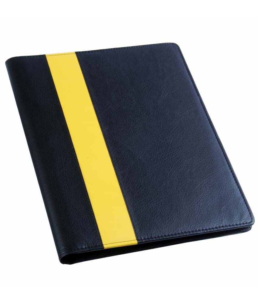 COI Black And Yellow Leatherite Conference Folder/Document Folder