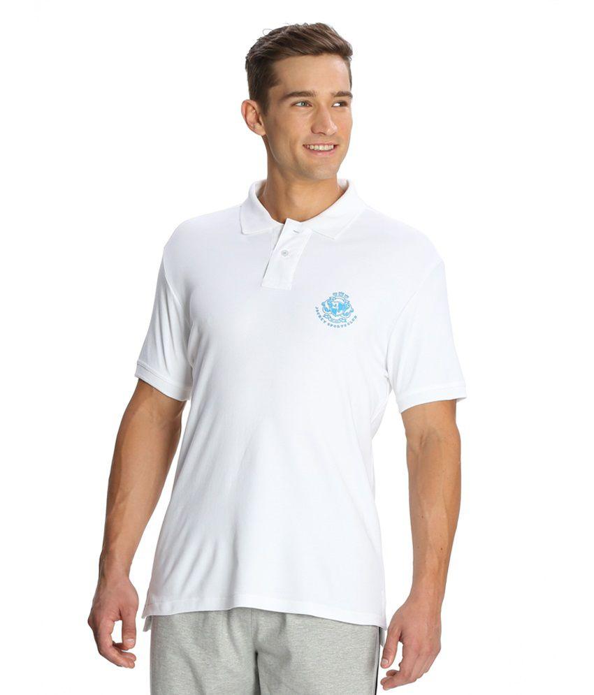 Jockey White Half Sleeve Polo T-Shirt