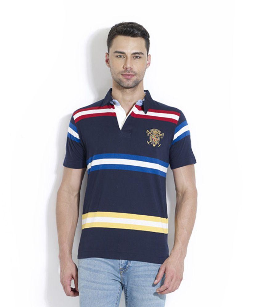 Lyf Multi Half Sleeves Striper Wear Polo T-shirt