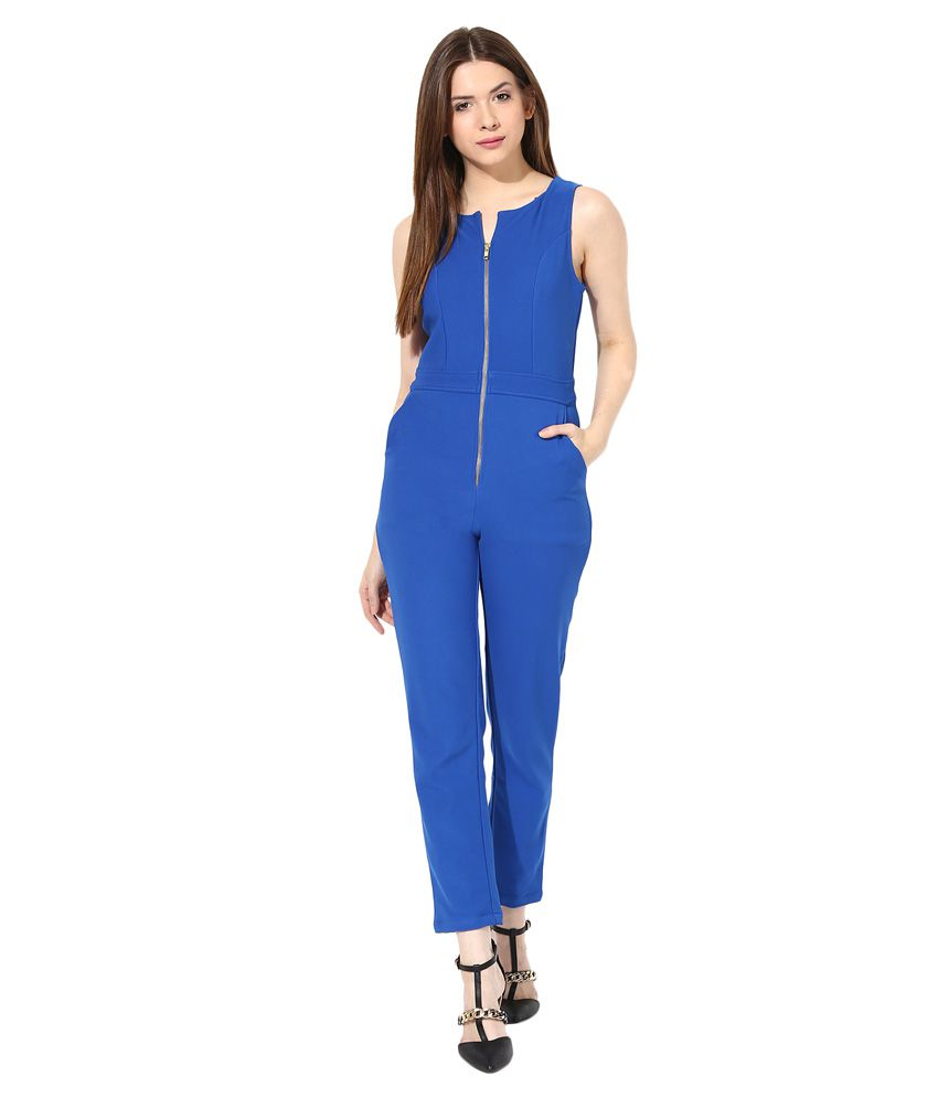Miss Chase Blue Long Tapered JUMPSUIT For Women Sleeveless Casual Wear