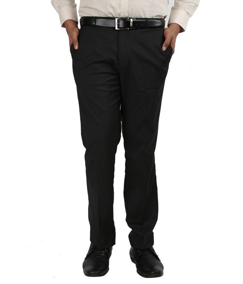 Oxemberg Plain PV Slim Fit Black Trouser