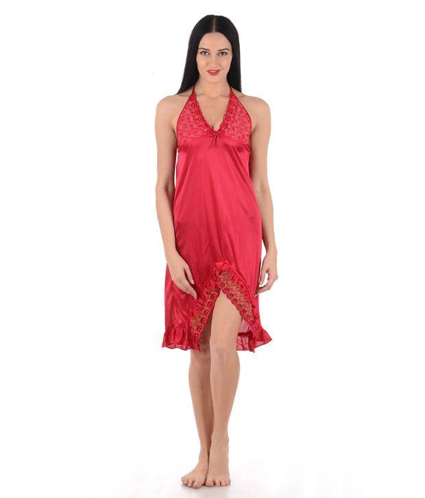 Klamotten Red Satin Baby Doll Dresses