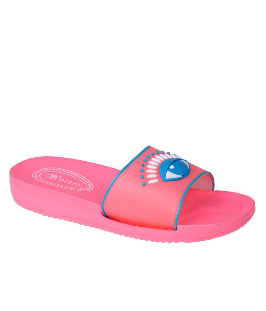 Buy Trilokani Pink Girl's Slippers