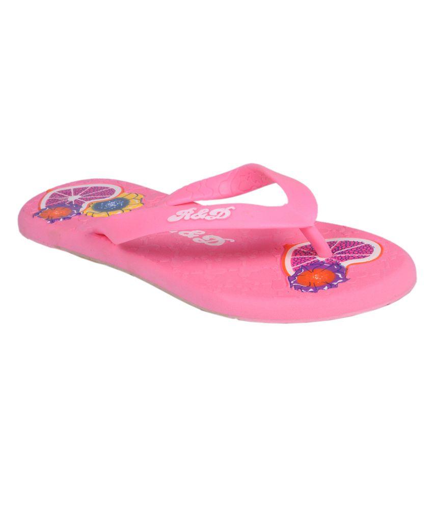 Trilokani Pink Women's Slippers