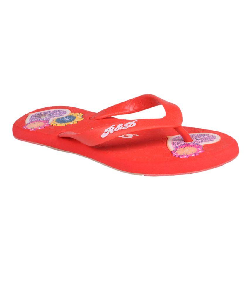Trilokani Red Women's Slippers