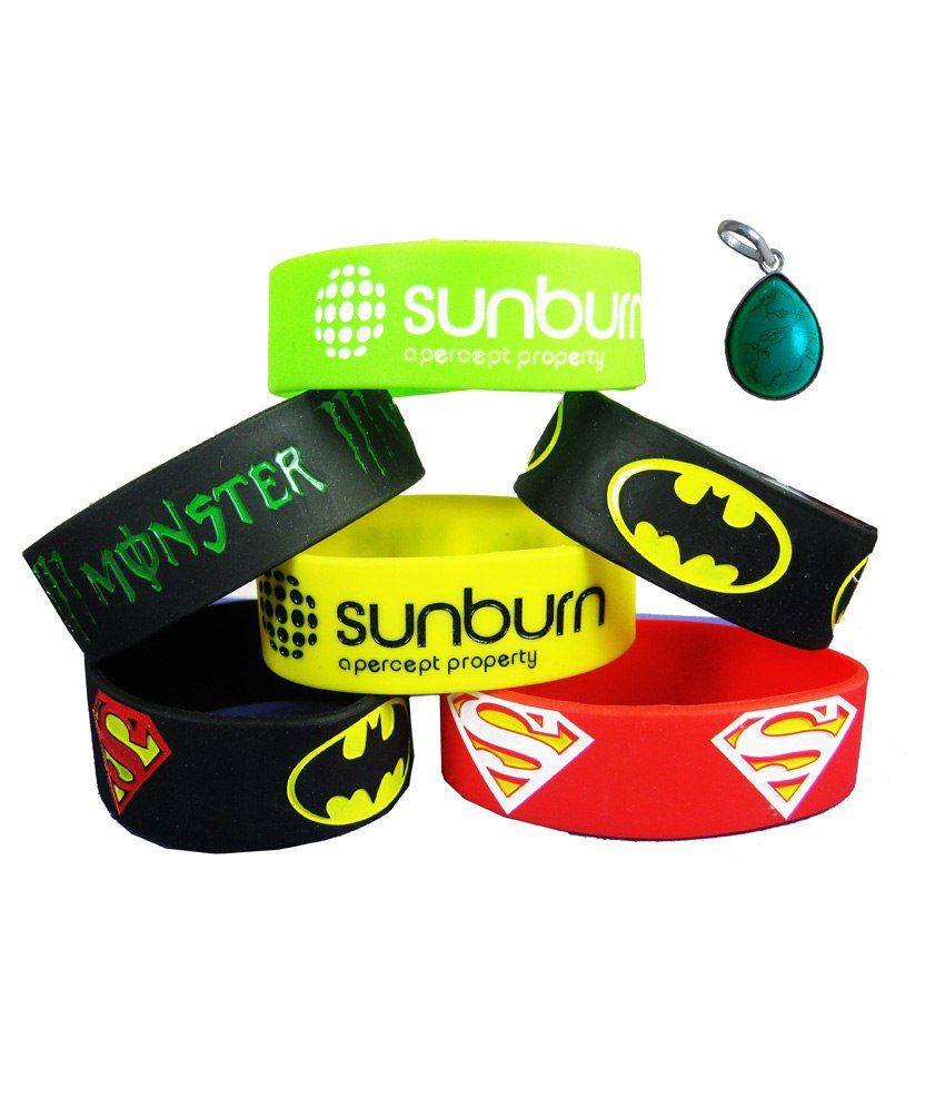 Eshoppee Sunburn Yellow Batman Monster Energy Superman Orange Wristband Wrist Band Bracelet Sunburn Green Justise League Wrist Band With Freee Turquoise Pandent.